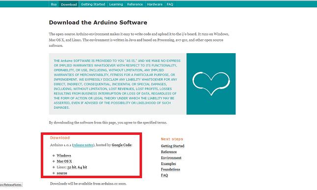 Página de download do Arduino. Em destaque os links de download.